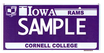 Cornell College License Plate