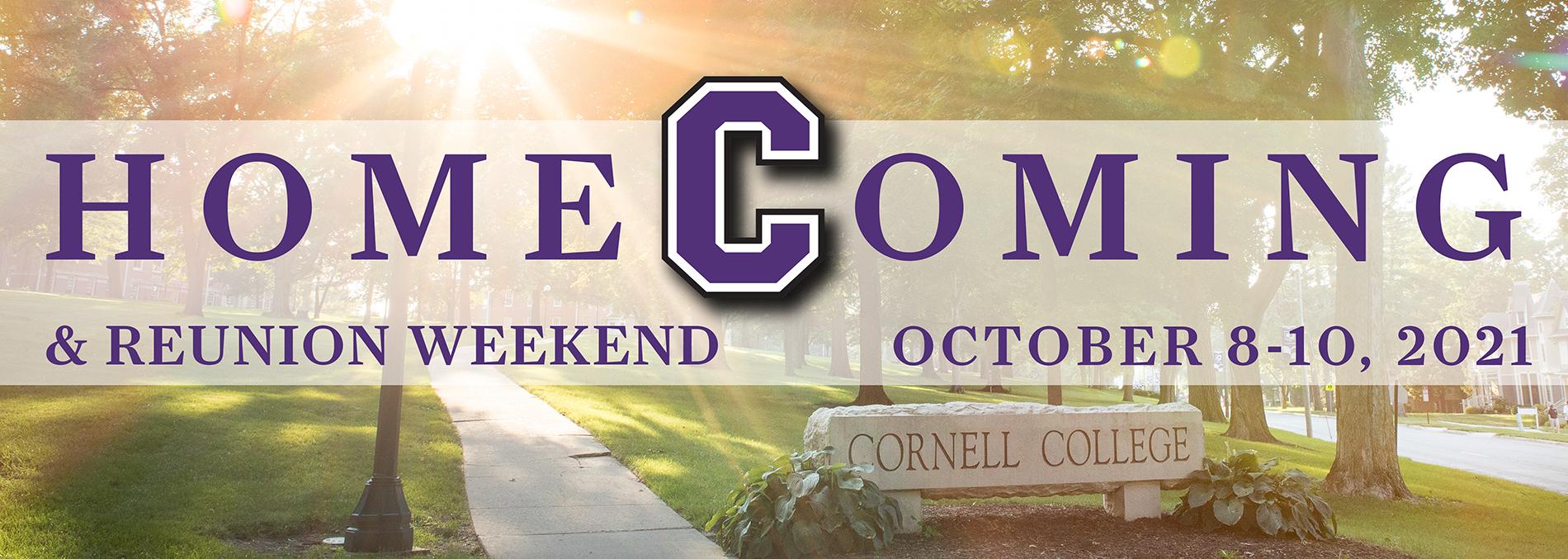 Cornell Homecoming 2021 banner, Oct 8-10